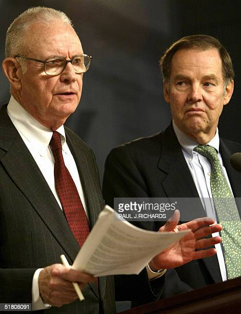 Lee Hamilton and and Thomas Kean members of the blueribbon commission that investigated the 11 September 2001 terrorist attacks address a press...