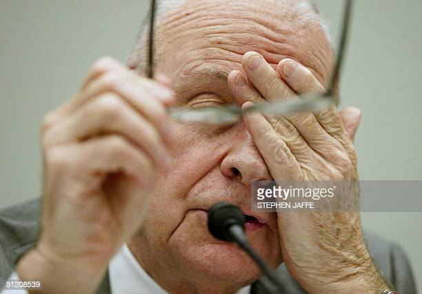 Lee Hamilton the Vice Chairman of the 9/11 Commission testifies before the US House Committee on Financial Services 23 August 2004 on Capitol Hill in...