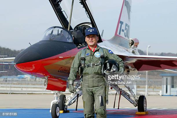 Lee HanHo South Korea Air Force's Chief of the Staff poses after a testflight with the T50 Golden Eagle South Korea's first supersonic aircraft at...