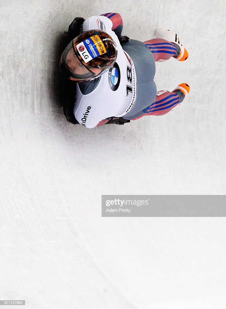 Lee Hansin of Korea completes his first run of the Men's Skeleton during Day 4 of the IBSF World Championships 2016 at Olympiabobbahn Igls on February 18, 2016 in Innsbruck, Austria.