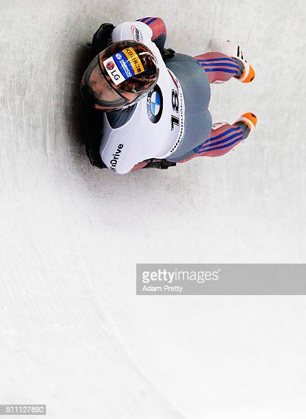 Lee Hansin of Korea completes his first run of the Men's Skeleton during Day 4 of the IBSF World Championships 2016 at Olympiabobbahn Igls on...