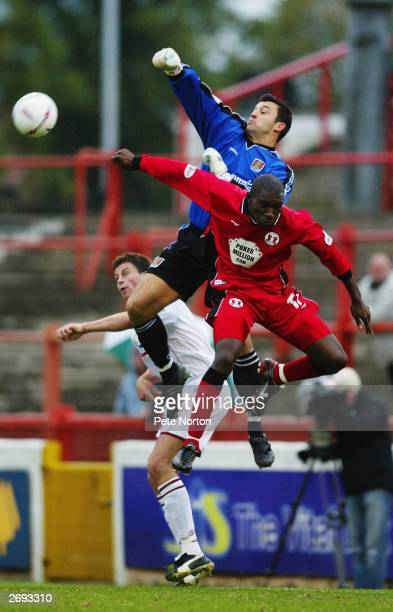 Lee Harper of Northampton Town rises highest to punch the ball clear from danger during the Nationwide League Division Three match between Leyton...