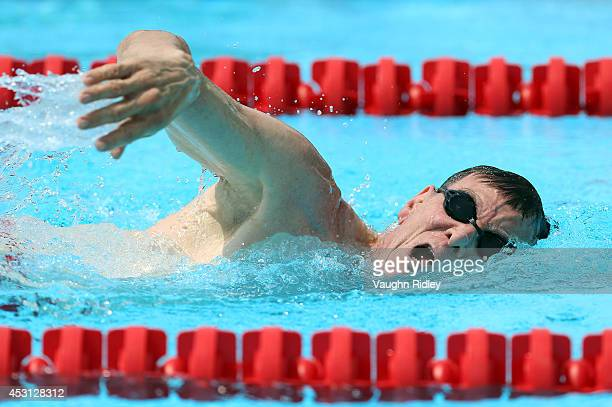 Lee Harris of the US competes in the Men's 800m Freestyle at Parc JeanDrapeau during the 15th FINA World Masters Championships on August 03 2014 in...