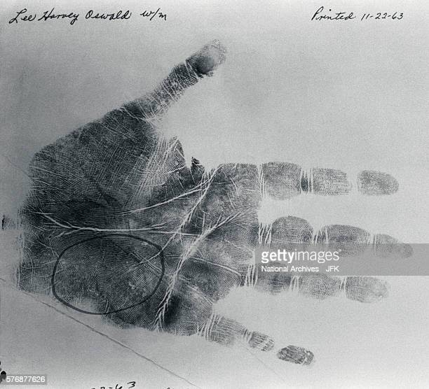 Lee Harvey Oswald palm print taken on November 22 the day President Kennedy was assassinated and the day Oswald the alleged assassin was arrested The...