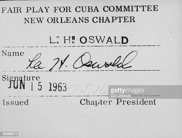 Lee Harvey Oswald's membership card for the Fair Play for Cuba Committee
