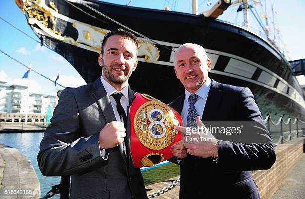 Lee Haskins poses for a portrait alongside Barry McGuigan during a Press Conference at the Great Eastern Hall on March 31 2016 in Bristol England