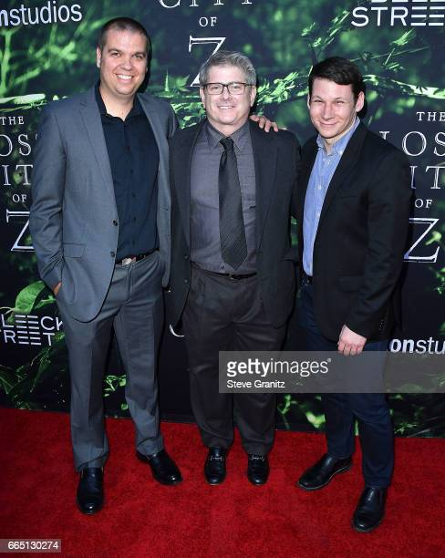 Lee HaugenJohn AxelradScott Morris arrives at the Premiere Of Amazon Studios' 'The Lost City Of Z' at ArcLight Hollywood on April 5 2017 in Hollywood...