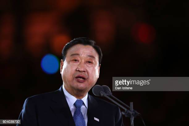 Lee Heebeom President CEO of PyeongChang Organizing Committee speaks during the Closing Ceremony of the PyeongChang 2018 Winter Olympic Games at...