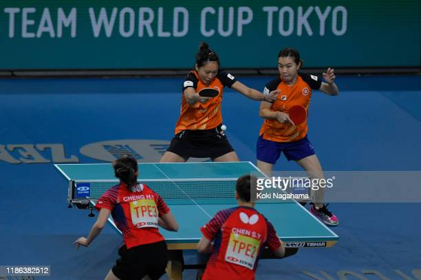 Lee Ho Ching and Soo Wai Yam Minnie of Hong Kong China competes against Cheng HsienTzu and Chen SzuYu of Chinese Taipei during Women's Teams singles...