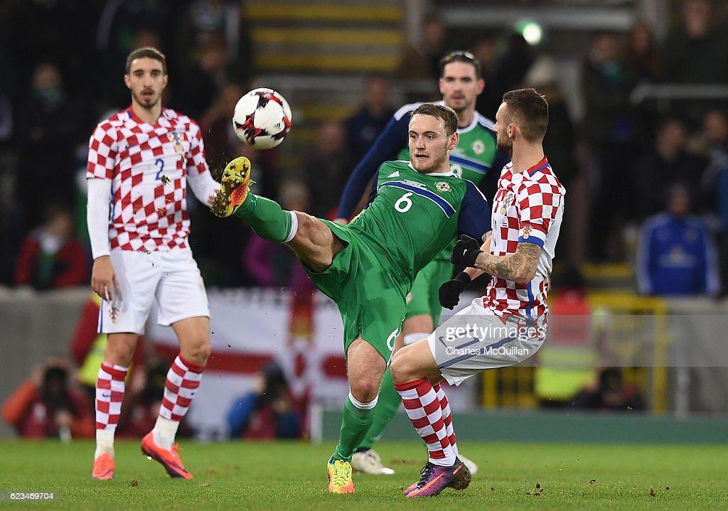 Lee Hodson (L) of Northern Ireland and Marcelo Brozovic (R) of Croatia during the international friendly fixture between Northern Ireland and Croatia at Windsor Park on November 15, 2016 in Belfast, Northern Ireland.