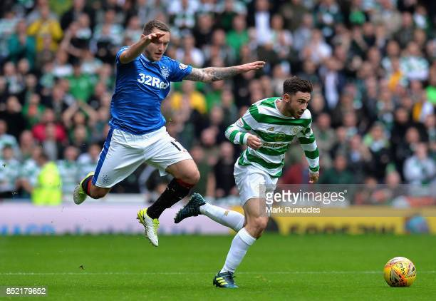 Lee Hodson of Rangers and Patrick Roberts of Celtic battle for possession during the Ladbrokes Scottish Premiership match between Rangers and Celtic...