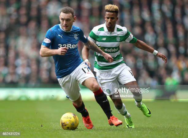 Lee Hodson of Rangers is put under pressure from Scott Sinclair of Celtic during the Ladbrokes Scottish Premiership match between Celtic and Rangers...