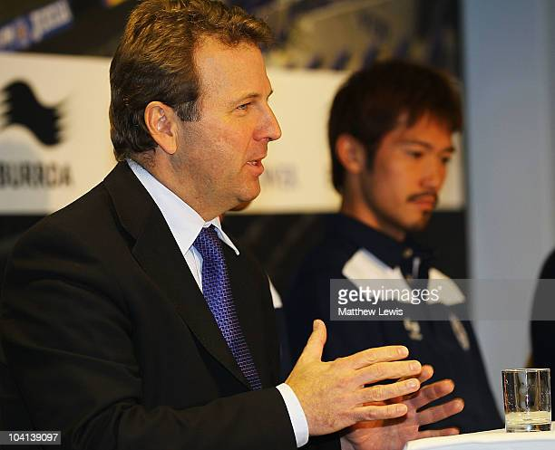 Lee Hoos Chief Executive of Leicester City pictured with Yuki Abe Leicester City's new signing during a press conference at the Walkers Stadium on...