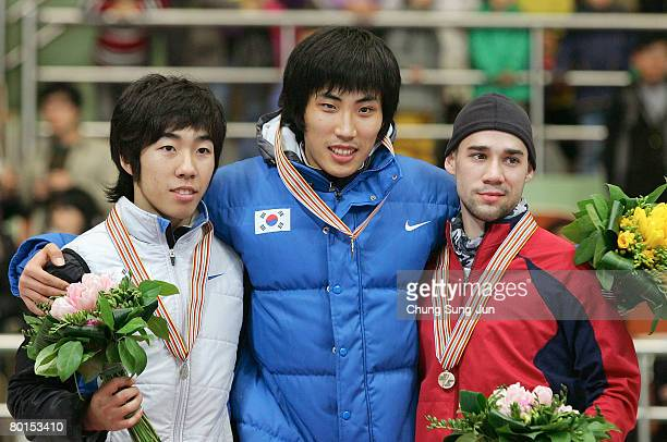 Lee HoSuk of Korea Song KyungTaek of Korea and Charles Ryan Leveille of USA pose on the podium after the medals ceremony of the Men 1500M fanal of...