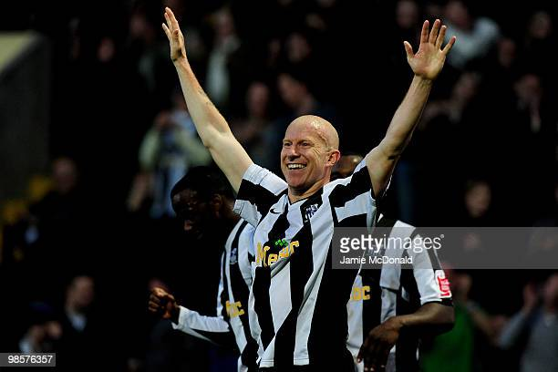 Lee Hughes celebrates his goal for Notts County during the Coca Cola League 2 match between Notts County and Rochdale at the Meadow Lane Stadium on...