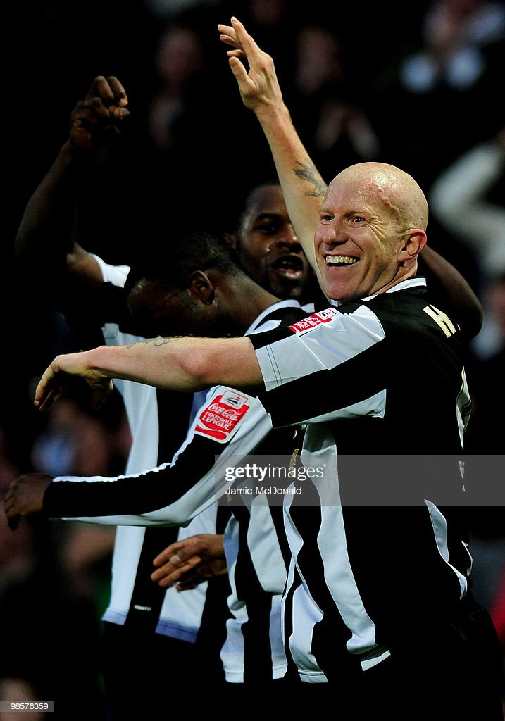 Lee Hughes celebrates his goal for Notts County during the Coca Cola League 2 match between Notts County and Rochdale at the Meadow Lane Stadium on April 20, 2010 in Nottingham, England.