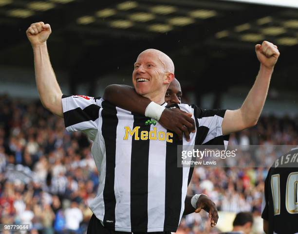 Lee Hughes of Notts County celebrates his goal during the CocaCola League Two match between Notts County and Cheltenham Town at Meadow Lane on May 1...