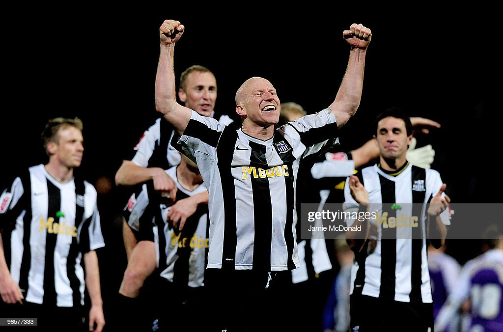 Lee Hughes of Notts County celebrates victory during the Coca Cola League 2 match between Notts County and Rochdale at the Meadow Lane Stadium on April 20, 2010 in Nottingham, England.