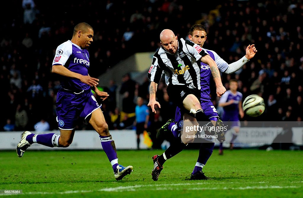 Lee Hughes scores a goal for Notts County during the Coca Cola League 2 match between Notts County and Rochdale at the Meadow Lane Stadium on April 20, 2010 in Nottingham, England.