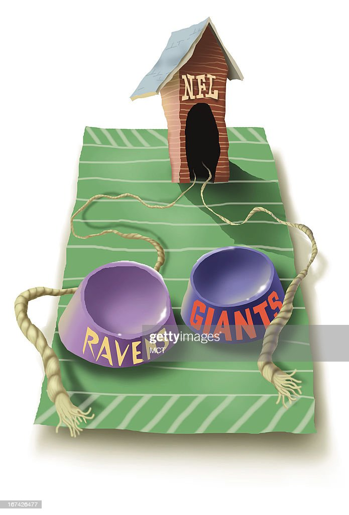 Lee Hulteng color illustration of a dog house with NFL written on it. Two broken leashes extend out from the dog house. Two empty dogs bowls are labeled with the words Ravens and Giants; two underdog teams, the Baltimore Ravens and the N.Y. Giants, to meet in Super Bowl XXXV.