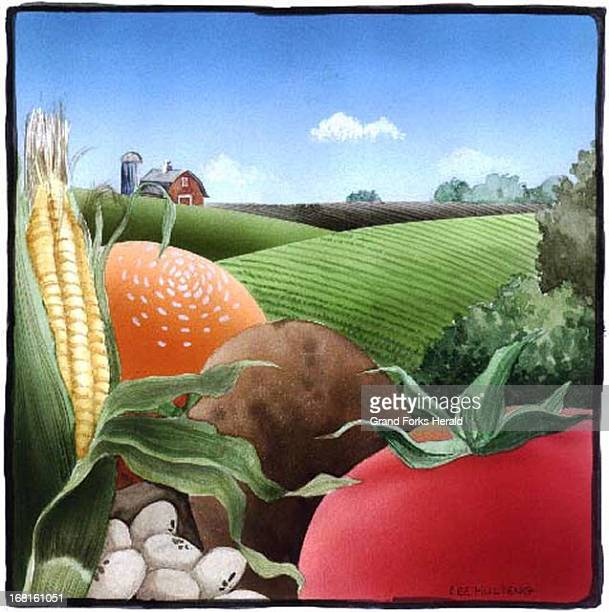 Lee Hulteng color illustration of farm scene corn tomato potato etc in foreground field in middle area farm houses in backgroun