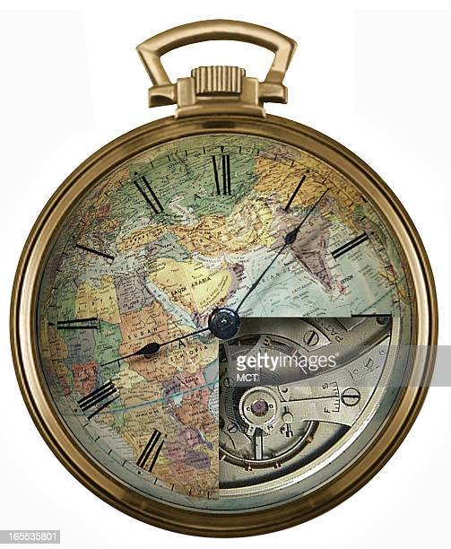 Lee Hulteng color illustration of pocket watch globe showing inside timepiece