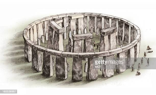 Lee Hulteng color illustration of prehistoric Stonehenge in Wiltshire UK as it may have looked over 4000 years ago