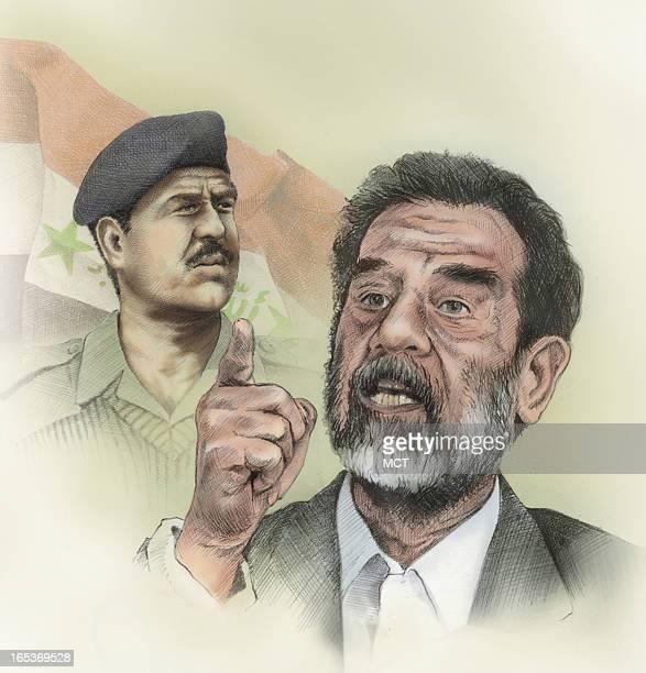 Lee Hulteng color illustration of Saddam Hussein