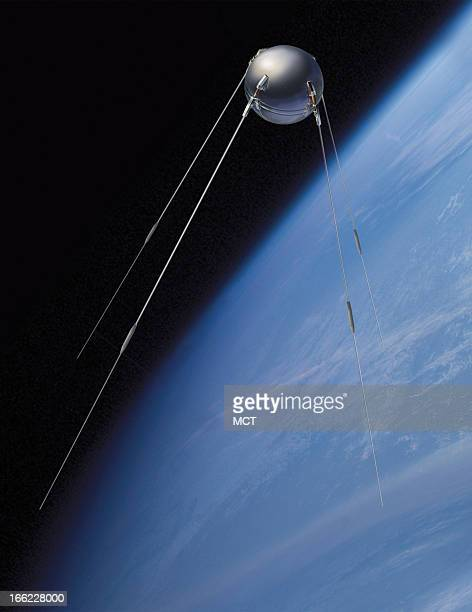 Lee Hulteng color illustration of Sputnik the first artificial satellite to be launched into orbit around the Earth 2007 is the 50th anniversary of...