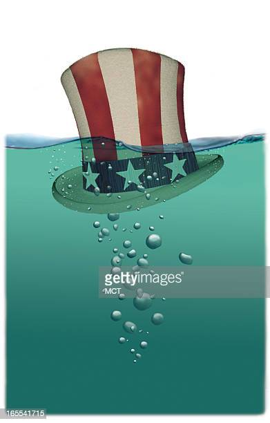 Lee Hulteng color illustration of Uncle Sam's hat sinking in deep water