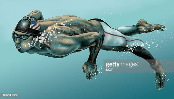 Lee Hulteng color illustration of U.S. Swimmer Michael Phelps.