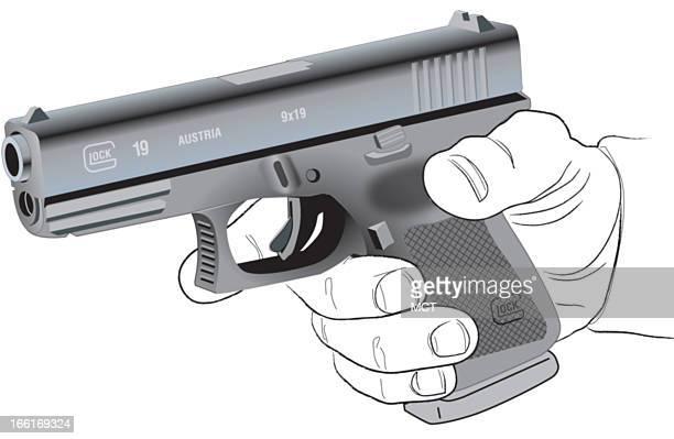 Lee Hulteng illustration of the compact Glock 19 semiautomatic pistol