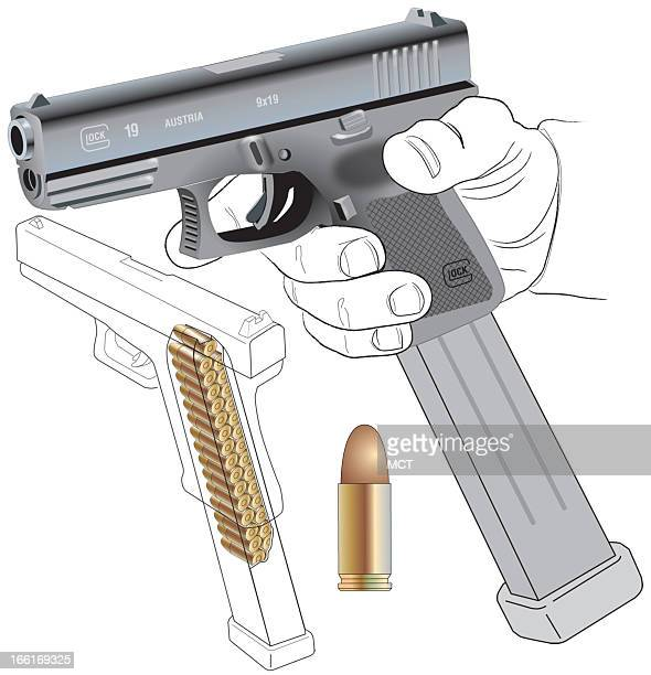 Lee Hulteng illustration of the compact Glock 19 semiautomatic pistol showing a highcapacity magazine inserted in the grip with cutaway sthat hows...