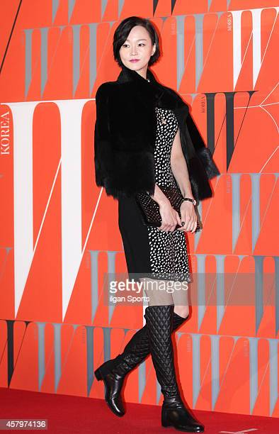 Lee HyeJung poses for photographs during the W Korea campaign Love Your W party at Fradia on October 23 2014 in Seoul South Korea