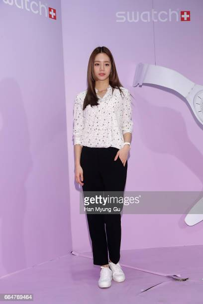 Lee HyeRi of South Korean girl group Girl's Day attends the photocall for 'SWATCH' Skin Launch event on April 4 2017 in Seoul South Korea