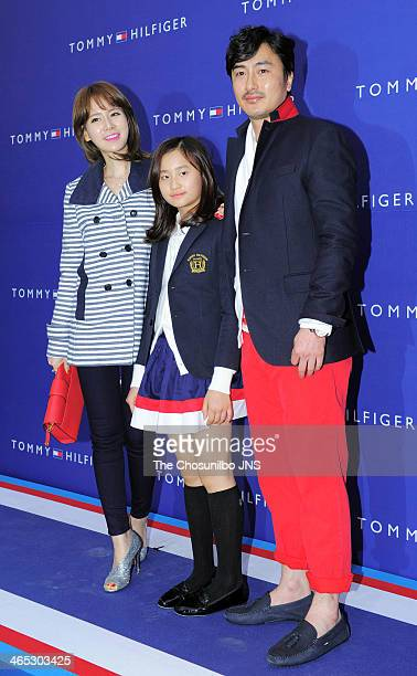 Lee HyeWon Ahn RiWon and Ahn JungHwan attend the Tommy Hilfiger flagship store opening at Tommy Hilfiger on January 23 2014 in Seoul South Korea
