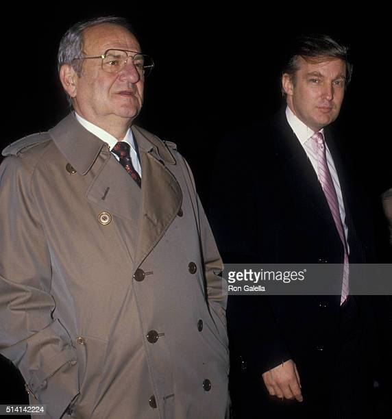 Lee Iacocca and Donald Trump attend Jessica SteinbrennerJoseph Molloy Wedding Ceremony on November 7 1987 at St Patrick's Cathedral in New York City