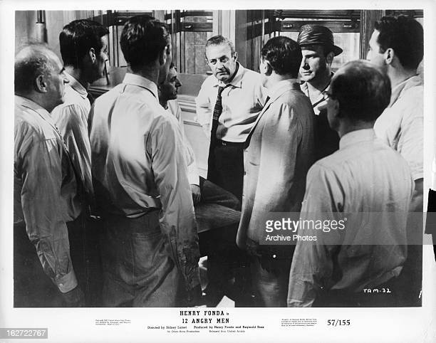 Lee J Cobb addressing the other jurors in a scene from the film '12 Angry Men' 1957