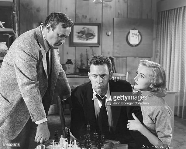 Lee J Cobb William Holden and Nina Foch in The Dark Past