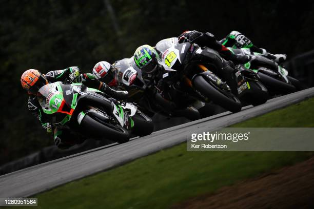 Lee Jackson of Kawasaki - Rapid Fulfillment team and Andrew Irwin of Honda Racing ride during the penultimate round of the Bennetts British Superbike...