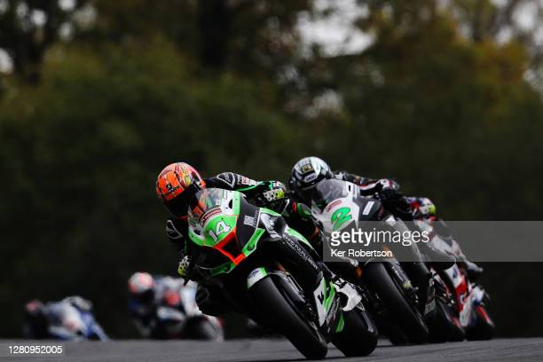 Lee Jackson of Kawasaki - Rapid Fulfillment team rides during the penultimate round of the Bennetts British Superbike Championship at Brands Hatch on...