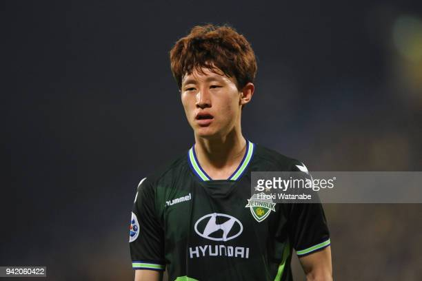 Lee Jaesung of Jeonbuk Hyundai Motors looks on during the AFC Champions League Group E match between Kashiwa Reysol and Jeonbuk Hyundai Motors at...