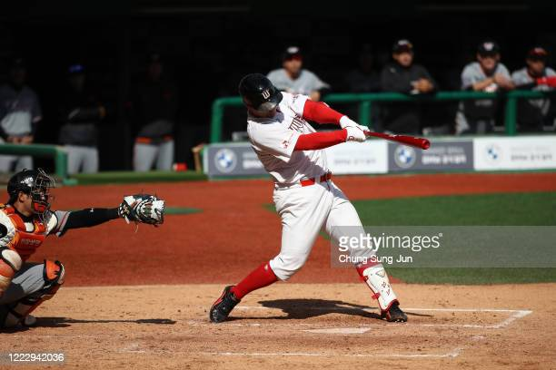 Lee Jaewon of SK Wyverns bats during the Korean Baseball Organization League opening game between SK Wyverns and Hanwha Eagles at the empty SK Happy...