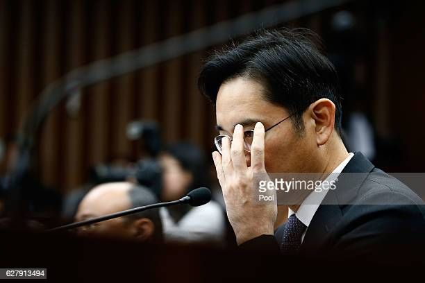 Lee JaeYong vice chairman of Samsung answers questions during a parliamentary hearing of the probe in Choi Soonsil gate at the National Assembly on...