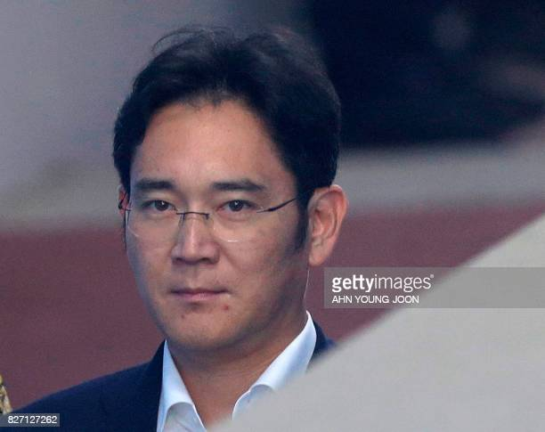 Lee Jaeyong vice chairman of Samsung Electronics Co arrives for his trial at the Seoul Central District Court in Seoul on August 7 2017 South Korean...