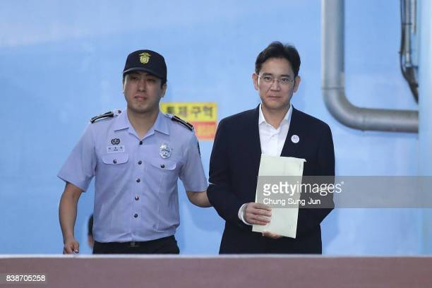 Lee Jaeyong vice chairman of Samsung Electronics Co leave after his verdict trial at the Seoul Central District Court on August 25 2017 in Seoul...