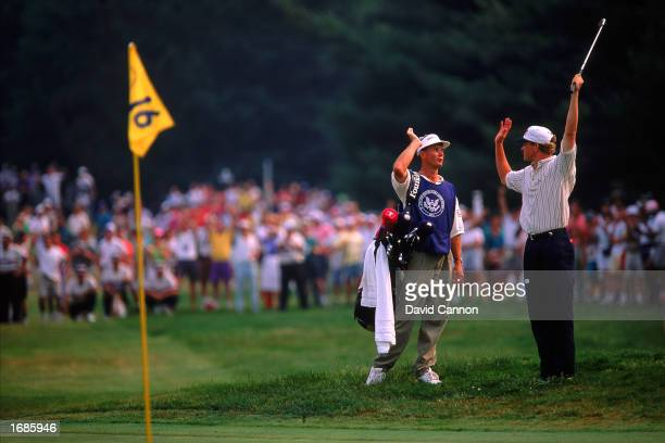 Lee Jansen celebrates chipping his shot in the 16th hole during the U.S Open at the Baltusrol Golf Club in NJ, USA in 1993.