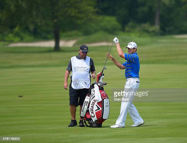 Lee Janzen pulls a club during the first round of the Champions Tour Constellation SENIOR PLAYERS Championship at Belmont Country Club on June 11...