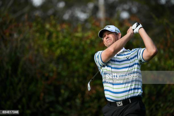 Lee Janzen tees off on the 16th hole during the first round of the PGA TOUR Champions Allianz Championship at The Old Course at Broken Sound on...