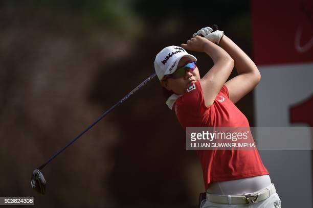Lee Jeong Eun of South Korea hits a shot during the Honda LPGA golf tournament at the Siam Country Club in the coastal Thai province of Chonburi on...